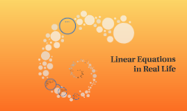 Linear Equations in Real Life