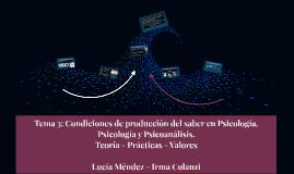 Tema 3: Condiciones de producción del saber en Psicología. P