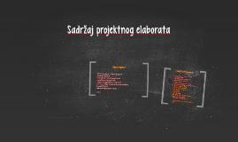 Sadržaj projektnog elaborata