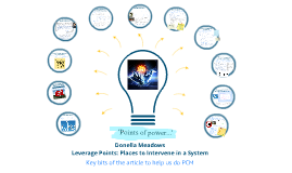 PCM Team Presentation - Leverage Points: Places to Intervene in a System by Donella Meadows
