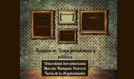 Falacias en Textos periodísticos y politicos.
