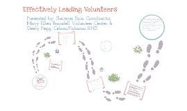 Effectively Managing Volunteers