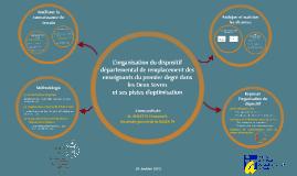 L'organisation du dispositif départemental de remplacement des enseignants du premier degré dans les Deux-Sèvres et ses pistes d'optimisation