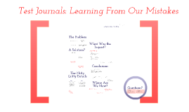 Test Journals: Learning From Our Mistakes ICTM/ISTS13