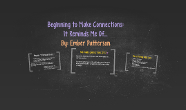 Beginning to Make Connections: