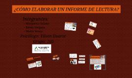 Copy of Como realizar un informe de Lectura
