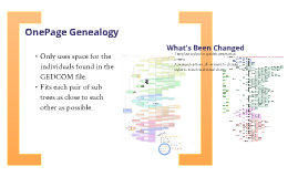 Improving OnePage Genealogy: What it was, What it is, What it will be