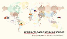 LEGISLAÇÃO SOBRE RESÍDUOS SÓLIDOS