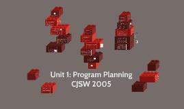 Unit 1: Program Planning