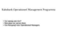 Rabobank Operationeel Management Programma