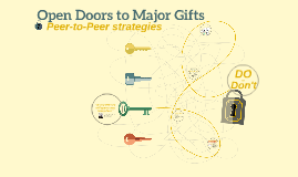 Open Doors to Major Gifts: Peer-to-Peer strategies