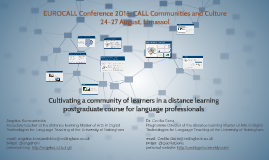 Cultivating a community of learners in a distance learning postgraduate course for language professionals