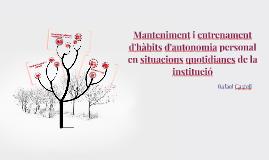 Manteniment i entrenament d'hàbits d'autonomia personal en situacions quotidianes de la institució