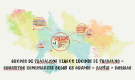 GRUPOS DE TRABALHOS VERSUS EQUIPES DE TRABALHO - CONCEITOS I