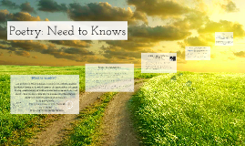 Copy of Poetry: Need to Knows