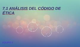 ANÁLISIS DEL CÓDIGO DE ÉTICA