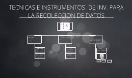 TECNICAS E INSTRUMENTOS  DE INV. PARA  LA RECOLECCION DE DAT