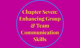 Fall 2016 Chapter Seven: Enhancing Group & Team Communication Skills