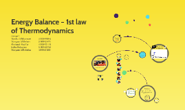 Energy Balance – 1st law of Thermodynamics