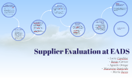 Supplier Evaluation at EADS