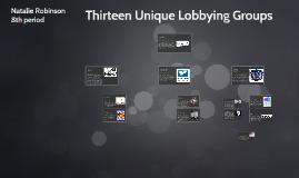 Thirteen Unique Lobbying Groups