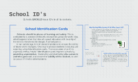 Schools SHOULD issue ID's to all its students.
