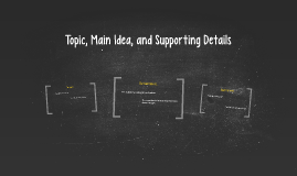 Topic, Main Ideas, and Supporting Details