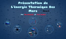 L'énergie Thermique Des Mers