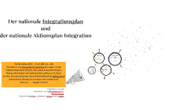 Der nationale Integrationsplan und der nationale Aktionsplan