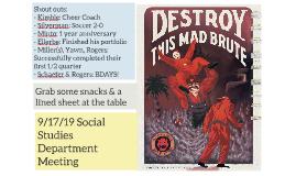 9/17/19 Social Studies Department Meeting