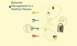 Behavior Management in a Positive Climate