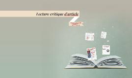 Lecture critique d'article