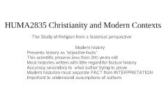 HUMA2835 Christianity and Modern Contexts