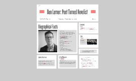 Ben Lerner: from Poet to Novelist