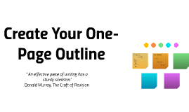 Create Your One-Page Outline