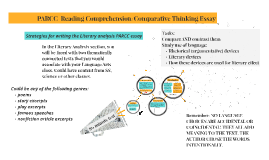 PARCC  Reading Comprehension/Comparative Thinking Essay