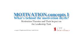 Organizational Behavior: Motivation I