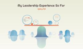 My Leadership Experience So Far