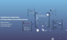 Copy of Зарубежная практика оптимизации налогообложения