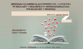 HIPÓTESES E INTERPRETAÇÃO EXPERIMENTAL: A CONJETURA DE POINC