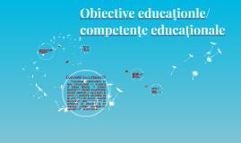 Obiective educaționle/competențe educaționale