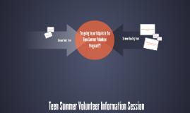 Teen Summer Volunteer Information Session 2015