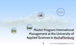 Master Program International Management at the University of