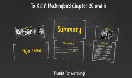 To Kill A Mockingbird Chapters 30,31