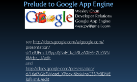 Prelude to Google App Engine