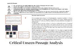 Critical Unseen Passage Analysis