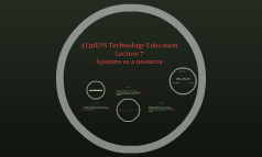2139EPS Technology Education: Lecture 7: Systems as a resource