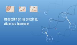 Traduccion de las proteinas, vitaminas, hormonas
