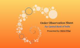 Order Observation Sheet