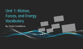 Unit 1: Motion, Forces, and Energy Vocabulary